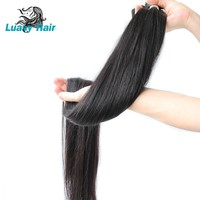 Luasy 30 Inch 32 34 36 38 Inch 40 Inch Bundles Straight Peruvian Human Hair Weave Bundles Long Virgin Hair Extensions 1/3/4 PCS