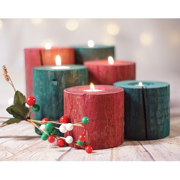 Log Candle Holders Red and Green
