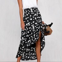 Casual animal print women skirt High waist asymmetrical ruffled female skirts A-line ladies midi skirts bottoms