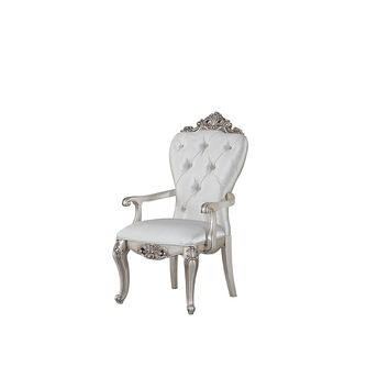 "Armchairs and Accent Chairs - 25"" X 25"" X 42"" Cream Fabric Antique White Wood Upholstered (Seat) Arm Chair (Set-2)"