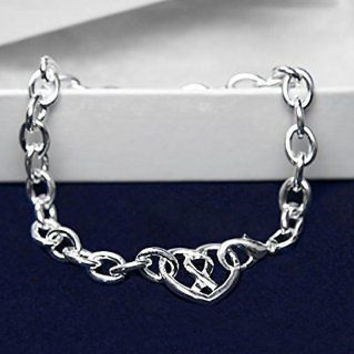 Chunky Silver Ribbon Heart Bracelet for Autism Awareness with a Gift Box