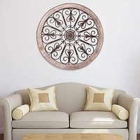 Round Intricate Metal Scrollwork Wall Decor with Wooden Frame, Cream and Brown