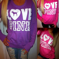 """""""Pink"""" Victoria's Secret Loose Long Sleeve Letter Print Top Sweater"""