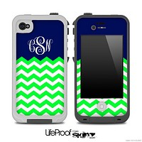 Lime Green and Navy Custom Monogram Chevron Pattern for the iPhone 5 or 4/4s LifeProof Case