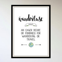 Physical Print - Wanderlust definition - A4 or A3 size