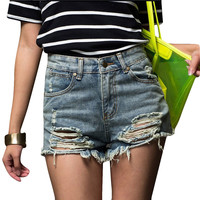Summer hot Sale High Waist Shorts 2017 Denim Shorts Vintage Streetwear Ripped Short Jeans Worn Hole Female Casual Shorts XS-5XL