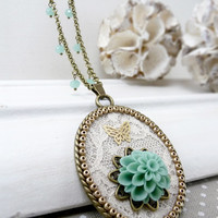 Blue Flower Pendant Necklace, Ivory Lace Pendant, Statement Necklace, Wedding Jewelry, Flower Necklace, Bridesmaid Necklace, Shabby Chic