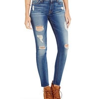 7 for All Mankind Distressed Ankle Skinny Jeans   Dillards