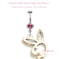 Wanna Play -- Shiny Silver Playboy Bunny Dangling Navel Belly Ring
