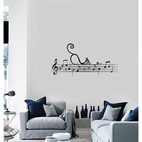 Vinyl Wall Decal Music Notes Musical Cat Creative Idea Kids Room Interior Stickers Mural (ig5967)