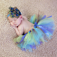 Tutu Set - Peacock Tutu Set - Baby Tutu - Tutu and Headband Set - Baby Flower Headband