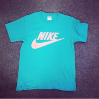 Women Men Nike T-shirt Fashion Hot Short Sleeve Print Letters Top Lake blue