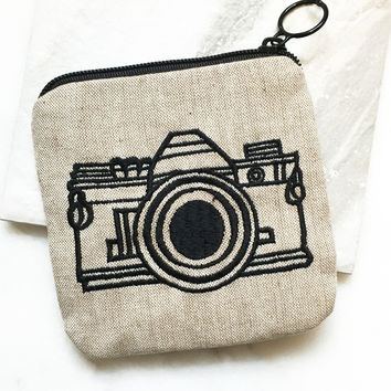 Embroidered Camera Pouch
