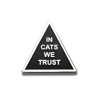 In Cats We Trust Enamel Pin in Black and Silver