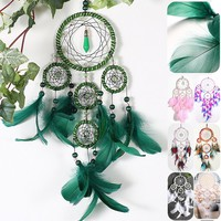 Home Decor Ornament Craft, Handmade Wall Hanging Wind Chimes Feather Turquoise Dream Catcher Green Dreamcatcher