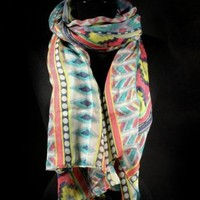 Mexican Aztec Pattern Boho Light Weight Scarf - Yellow