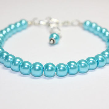 Medium Size Sky Blue Dog Collar. Light Blue Glass Pearl Beaded Collar for Puppy Large Dog. Spring Wedding Color. Upgrade to Magnetic Clasp