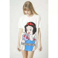 White Snow White Print Short-Sleeve Dress Shirt