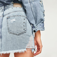 DENIM SKIRT WITH EYELETS