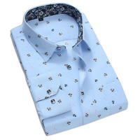 Mens Flower Pattern Dress Shirt