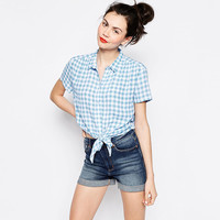 Blue Plaid Collar Buttons Short Sleeves High Low Top