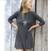 Winter Black Stripes Slim Dress One Piece Dress [4918038340]
