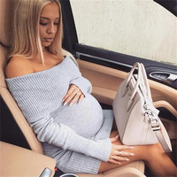 Off Shoulder Longsleeve Knitted Sexy Maternity Dress