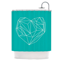 "Mareike Boehmer ""Heart Graphic Turquoise"" Teal Abstract Shower Curtain"