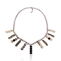 Faux Pearl  Metal Cube Chain Necklace