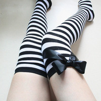 AUDREY  Black White striped Over the knee Thigh high Leg warmer Boot socks leg warmer Preppy Pin up style