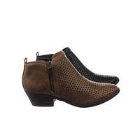 Mantis Women Vintage Western Ankle Bootie Block Heel Perforated Hole Cut Out