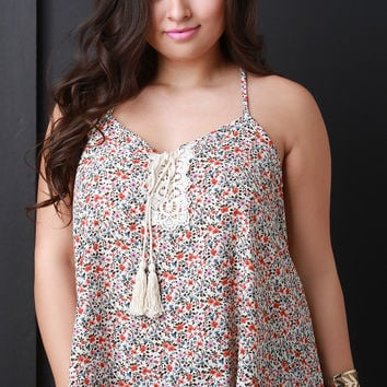 Sleeveless Woven Floral Lace Up Top