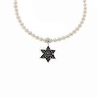 Star Of David Sterling Silver White Pearl Necklace