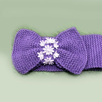 Knitted Bow Headband, Wide Bow Ear Warmer, Women's Fashion Accessory, Fall Headband, Knotted Bow Headband in Purple, Winter Fashion Gifts