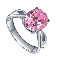 Stainless Steel Oval Pink Cubic Zirconia Solitaire Ring