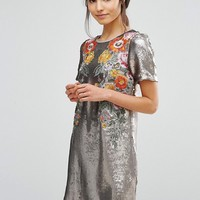 Oasis Premium Sequin Floral Shift Dress at asos.com