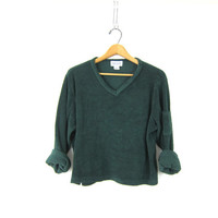 Cropped Thermal Sweater Slouchy Green V Neck 90s Grunge Fleece Basic Crop Top Shirt Textured Pullover Simple Vintage sweatshirt Womens Large