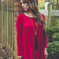 Solid and Steady Dress in Burgundy