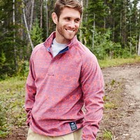 Southern Marsh Monmouth Flurry Quarter Zip Fleece Pullover in Red SM-OMMP-RDFB