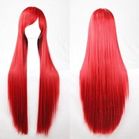 Womens/Ladies 100cm Red Color Long STRAIGHT Cosplay/Costume/Anime/Party/Bangs Full Sexy Wig (100cm,Straight,Red)