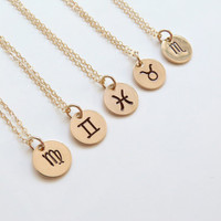 Gold Zodiac Necklace Zodiac Jewelry Bridesmaid Jewelry Personalized Gift silver Zodiac Necklace
