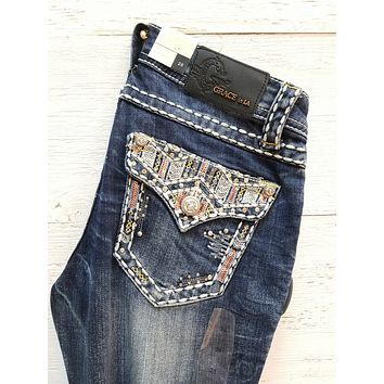 GRACE IN L.A UPS & DOWNS BOOTCUT JEANS