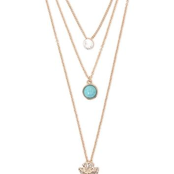 With Love From CA Triple Layer Necklace - Womens Jewelry - Gold - NOSZ