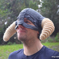 Made to Order Crochet Skyrim Viking Iron Helmet with Horns- One Size Fits Most