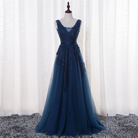 Real Photos Navy Blue Evening Dresses Vestido De Festa V Neck Cap Sleeve Vintage Lace Appliques Beaded African Prom Dresses