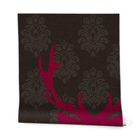 Natt Deer Damask Fuxia Wrapping Paper