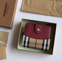 Kuyou Gb1986 Burberry Small Vintage Check And Gingham Tartan Leather Red Wine Folding Wallets 11cm*9.5cm*3.5cm