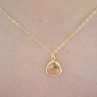 Gold Necklace, Champagne Glass, Flower Girl Necklace, Everyday Necklace, Dainty Gold Necklace