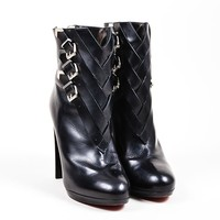 HCXX Black Christian Louboutin Leather Cross Buckle   Troop 120   Booties