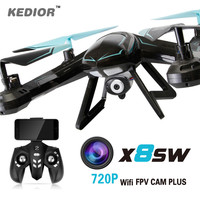 720P FPV Drone X8SW RC Quadcopter Helicopter 2.4G 4CH 6-Axis Quadricopter Drones Can Add Real-time 1.0MP HD Camera